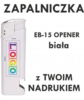 Zapalniczka z NADRUKIEM UV pełny kolor EB-15 HC OPENER biała - EB-15 HC OPENER