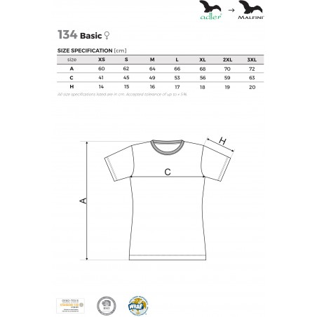 KOSZULKA DAMSKA KOLOROWA 134 BASIC z nadrukiem DTG - MALFINI - Koszulki damskie z nadrukiem