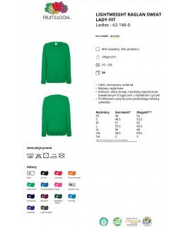 Bluza damska klasyczna kolorowa 240g z nadrukiem DTG - 621460 - Fruit of the loom - Zwykłe