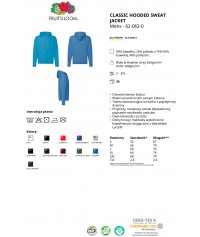 Bluza rozpinana z kapturem męska kolorowa 280g z nadrukiem DTG - 620620 - Fruit of the loom - Rozpinane z kapturem