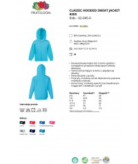Bluza z kapturem rozpinana dziecięca kolorowa 280g z nadrukiem DTG - 620450 - Fruit of the loom - Rozpinane z kapturem