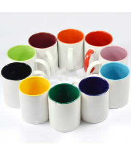 KUBEK Z KOLOROWYM UCHEM I ŚRODKIEM  13 kolorów kubka - z nadrukiem logo / grafika / zdjęcie - Białe zwykłe z kolorowym środkiem i uchem